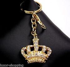 NEU & Box*Luxus Schlüsselanhänger Krone Gold Strass Schlüssel Tasche Anhänger B4