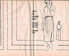 ▬► PATRON Couture Modes et Travaux - Jupe T 40 à 48 Février 1977