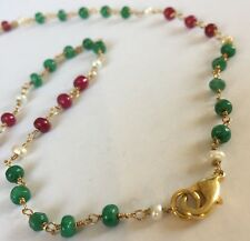 "NE73 Real ruby emerald seed pearl 18"" necklace gold on sterling silver INGIFTBOX"