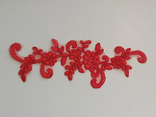 Red floral lace applique / dress lace motif is for sale. 23x7cm sold by piece