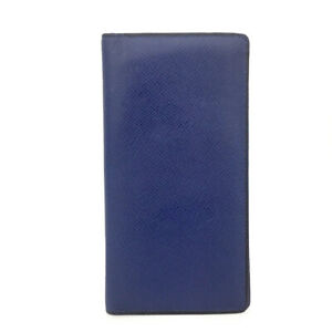 Louis Vuitton Taiga Porte feiulle Brazza Blue Leather Long Wallet /A2221