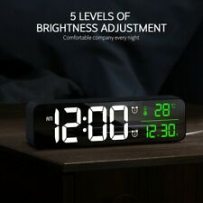 Modern Dual Alarm Clock USB Night Light Thermometer Digital LED Display Table