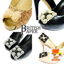 DECORATIVE DIAMANTE SHOE CLIPS GOLD BLACK PAIRS BOWS PEARL FLOWER SILVER BUCKLES