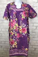 Vintage Purple Floral Cotton Mumu Comfort Choice Nightgown India Womens Size M
