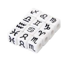 100pcs Square Cube Acrylic Beads Mixed Zodiac Symbols DIY Jewelry Craft 7mm