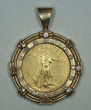 1997 Gold Eagle 1 Oz $50 AGE Coin Diamond Heavy Vintage 14K Pendant Bezel