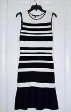 White House Black Market white black stripe knit dress body con ruffle XS exc
