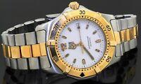 TAG Heuer Professional WK1120 2-tone SS quartz men's watch w/ date & white dial