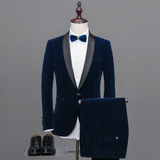 Navy Blue Velvet Best Men Tuxedos Shawl Lapel Groomsman Wedding Bridegroom Suits