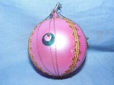 Vintage Arbre de Noël Décoration Verre Ornement Babiole rose avec fil gros