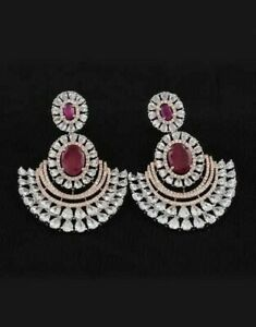 9Ct Oval Ruby Synt Diamond Chandelier Jhumka Drop Earrings White Gold Fns Silver