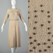 S 1940s Taupe Knit Dress Beaded Bust Casual Day Wear Fall Autumn Outfit 40s VTG