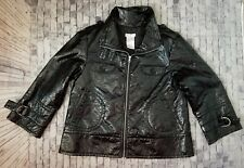 Worthington polyurethane shiny jacket coat patent leather size black mod M -a3