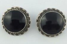 Onyx Big Round Earrings w/Textured Border Vintage Mexico Sterling Silver & Black