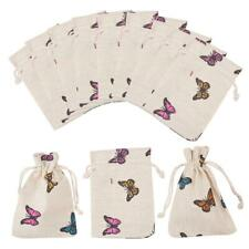 50pcs Polycotton Packing Pouches Drawstring Bag Butterfly Wheat Silk Cloth Pouch