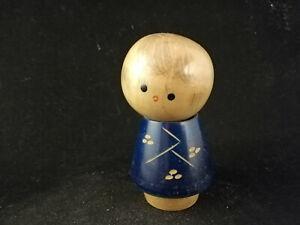 Small Kokeshi with a blue kimono - Japanese Wooden Doll - ca. 8 cm