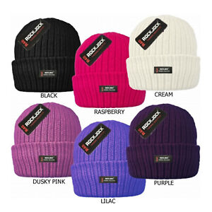 Womens Knit Insulated Turn Over Beanie Hat Ladies Fleece Lined Warm Winter Cap