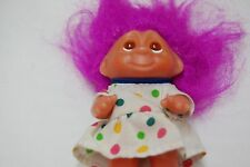 "1985 Dam Troll 3"" KIDS DOLL POLKA DOT DRESS Pink hair & amber eyes"