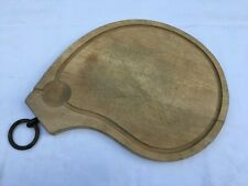 Antique Large French carved oval wood cutting board Prime rib w/ metal ring
