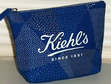 KIEHL'S Limited Edition Andrew Bannecker Canvas Cosmetic Makeup Bag Case, BLUE