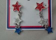 Design Earrings Great For 4Th Dangling Red, White And Blue Star