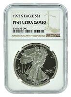 1992 S 1oz Silver Eagle Proof NGC PF69 Ultra Cameo - Brown Label