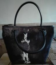 Tote Handbag Cow Hide Leather Zipper Hair On Purse Cowhide Leather Bag