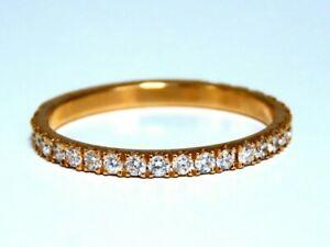.40ct natural round diamond band ring 14 Karat Bead Set Pave Flat Band