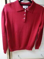 Johnstons Of Elgin Scottish Pure New Merino Wool Ladies Red Sweater Jumper Sz 38