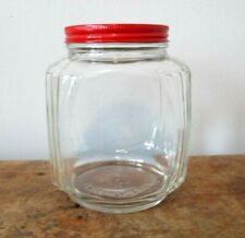 Anchor Hocking Canister Jar Vintage Clear Glass Square Kitchen Hoosier Storage