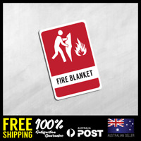 FIRE EXTINGUISHER STICKERS - FIRE BLANKET - Safety Stickers 100x150mm #FE007