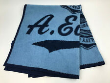 "Ae American Eagle Furry Soft Fleece Throw Blanket Blue 47x56"" Script Seal Logo"