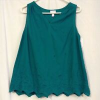 Ingrid & Isabel Women's Maternity Embroidered Woven Tank Green Size XS