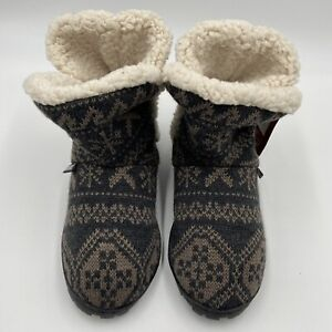 MUK LUKS Fair Isle Knit Bootie Slippers Size Small (5-6) NWT Brown