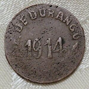 VINTAGE 1914 MEXICO-E. DE DURANGO 5 CENTAVOS COPPER COIN-LARGE DATE