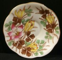 Vintage Rosina Bone China Saucer Made In England Pink & Yellow Floral