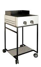 Barbecue a gas acciaio inox AISI 304 con carrello, piastra in pietra lavica