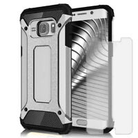 Phone Hybrid Hard Case For Samsung Galaxy S6 with Tempered Glass Plastic Cover