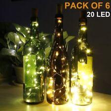 6 Pack Wine Bottle Light 20 LEDs String Light with Cork  for DIY/Party/Decor