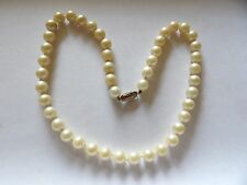 HAND KNOTTED GLASS IMITATION PEARL NECKLACE WITH A STERLING SILVER CLASP WLG2264