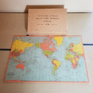 """Vintage Complete 1930s Joseph Straus No. 344 Map Of """"The World"""" In Full Color"""
