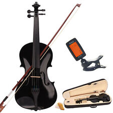 Full Size 4/4 Black Acoustic Violin Fiddle with Case Bow with Tuner Gift