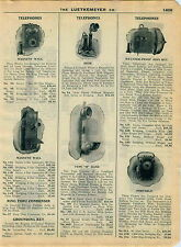 1915 AD 4 Page Telephone Equipment Phone Wall Magneto Candlestick Portable