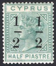 Cyprus 1882 1/2pi on 1/2pi 6 mm Em Green CA SG 27 Scott 26a MM/MH Cat £300($396)