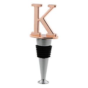 "Reusable Wine Cork Bottle Wine Stopper Top Closer Seal in Rose Gold - Letter ""K"""