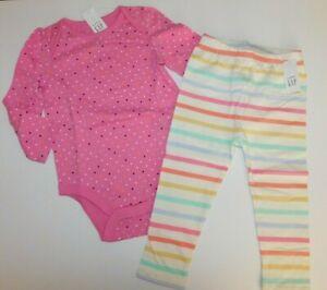 NWT Baby Gap Girl 2Pc Bodysuit/Leggings Pink Polka Dot Striped 18-24M Free Ship