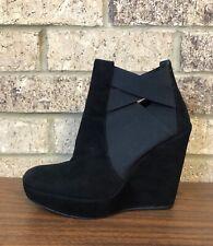 Stuart Weitzman HIYOLA Black Suede Platform Wedge Ankle Booties Boots Women 8.5
