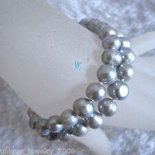 "2Row Freshwater Pearl Bracelet 7"" 7-9mm Silver Gray"