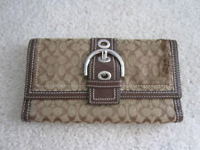 Coach USED Brown Tan Mini Signature Soho Buckle Checkbook Trifold Wallet Bag USA