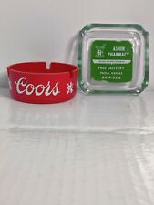 Vintage Coors Ashtray is plastic second Asher's pharmacy ashtray